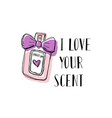 a bottle of perfume with a bow doodle with vector image