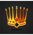 antique fantasy crown with jewel cartoon style vector image vector image