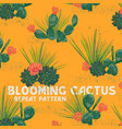 blooming cactus pattern vector image vector image