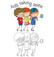 boy and girl taking selfie vector image
