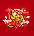 chinese zodiac pig sign for new year greeting vector image