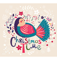 christmas with festive bird vector image vector image