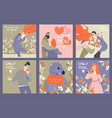 collection valentines day cards vector image vector image
