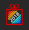 colorful gift box from paper ribbon with new year vector image vector image