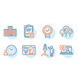 company launch project and seo strategy icons set