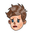 drawing character face head boy kid cry vector image vector image