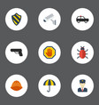 flat icons virus hardhat shield and other vector image vector image