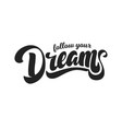 follow your dreams hand drawn lettering style vector image vector image