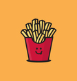 Fried potatoes in a pack Icon vector image vector image