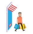 guy making shopping online in shop mobile web vector image vector image