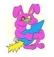 happy bunny holding in the paws of a large carrot vector image vector image