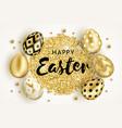 happy easter golden eggs design white vector image