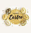happy easter golden eggs design white vector image vector image