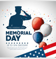 happy memorial day card with soldier silhuette vector image