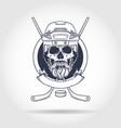 hockey player skull vector image vector image