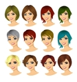 isolated set of young woman avatar vector image