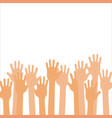 isolated up hands teamwork voting vector image vector image