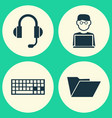 laptop icons set collection of earphone keypad vector image vector image