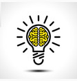 light bulb idea with brain logo template vector image vector image