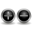 Metallic plus and minus buttons vector image vector image