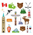 national symbols of canada set vector image vector image