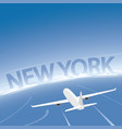 new york skyline flight destination vector image vector image