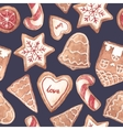 Nice ginger cookies pattern vector image