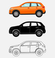 off-road vehicle in three different styles orange vector image vector image