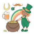 patrick gold saint patrick day cartoon vector image