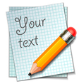 pencil with paper vector image vector image