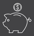 piggy bank line icon business and finance vector image