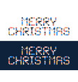 pixel art merry christmas block typography vector image