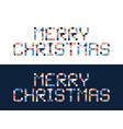 pixel art merry christmas block typography vector image vector image