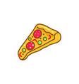 pizza slice cartoon icon vector image vector image