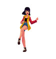 pretty woman girl in 1990s style clothes dancing vector image vector image
