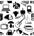 seamless doodle hobby pattern vector image vector image