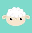 sheep lamb face head round icon cloud shape cute vector image vector image