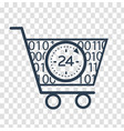 silhouette cart online store 24 hours vector image vector image
