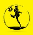 soccer player running and kicking a ball vector image vector image