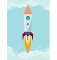 Space rocket flying in space with moon and stars vector image vector image