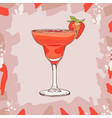 strawberry daiquiri cocktail alcoholic bar drink vector image vector image