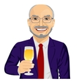 successful smiling senior businessman toasting vector image vector image