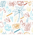 summer seamless pattern with beach elements vector image vector image