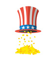 Uncle Sam hat and gold Cylinder Uncle Sam and gold vector image vector image