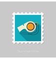 Whistle flat stamp Summer Vacation vector image vector image