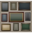 Wooden frames on dark vector image