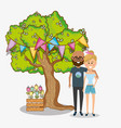 young couple in spring vector image
