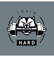 Angry dog with dumbbells Sports motivation poster vector image