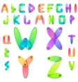 Rainbow candy alphabet with multicolored jems vector image