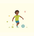 african american boy plays with a soccer ball vector image vector image